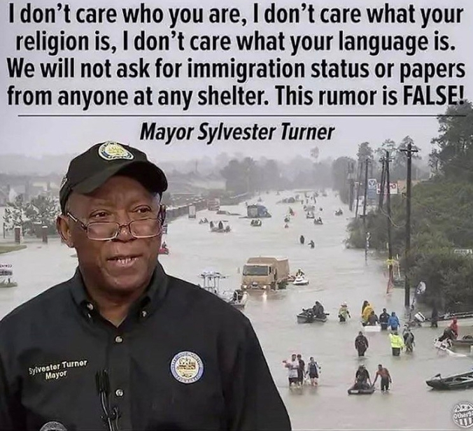 Mayor Turner Immigrantion Status Hurricane Harvey